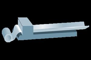 Reparto di lattonerie con linee di piegatura e taglio